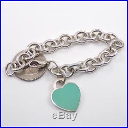 Tiffany & Co Sterling Silver Blue Enamel Return Heart Charm Bracelet 7 LDB8