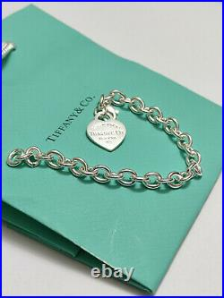 Tiffany & Co Sterling Silver Center Heart Tag Charm Bracelet