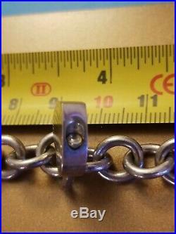 Tiffany & Co. Sterling Silver Charm Bracelet Heart Lock chain thick heart 1.5oz