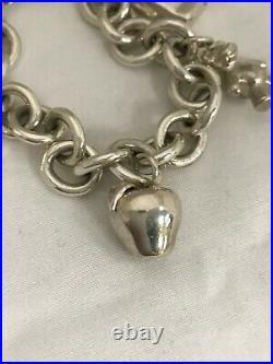 Tiffany & Co Sterling Silver Charm Bracelet NYC Apple Teddy Bear Gift & Shopping