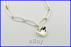 Tiffany & Co Sterling Silver Elsa Peretti Carved Heart Charm Bracelet 7 Inches