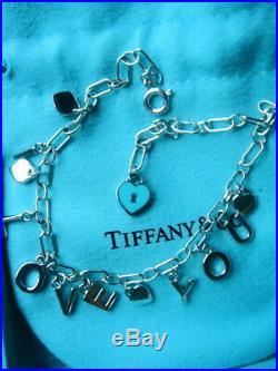 Tiffany & Co Sterling Silver Enamel Charms Bracelet 7