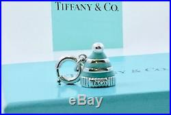 Tiffany & Co Sterling Silver Enamel Snow Hat Charm w Jump Ring 4 Bracelet 181119