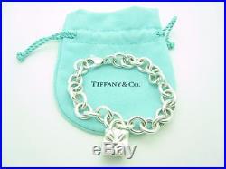 Tiffany & Co. Sterling Silver Gift Box Present Padlock Lock Charm Bracelet 7.5