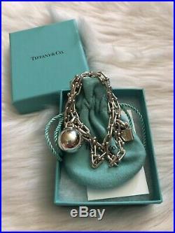 Tiffany & Co Sterling Silver HardWear Wrap Bracelet Ball Padlock Charm Links 7.5