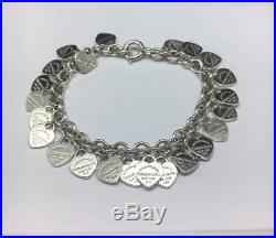 Tiffany & Co Sterling Silver Hearts Charm Bracelet 8.25