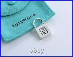 Tiffany & Co Sterling Silver Letter N Lock Charm Pendant For Necklace / Bracelet