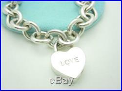Tiffany & Co. Sterling Silver Love Padlock Heart Charm Pendant Bracelet