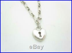 Tiffany & Co. Sterling Silver Mini Heart Lock Keyhole Charm Bracelet 7
