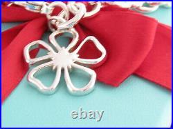 Tiffany & Co Sterling Silver Nature Open Flower Charm 7.625 Bracelet