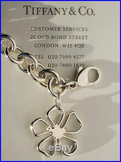 Tiffany & Co Sterling Silver Open Flower Charm Bracelet