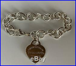 Tiffany & Co Sterling Silver Return To Tiffany Heart Tag Charm Bracelet