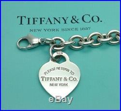 Tiffany & Co Sterling Silver Return To Tiffany Heart Tag Charm Bracelet 7 1/2
