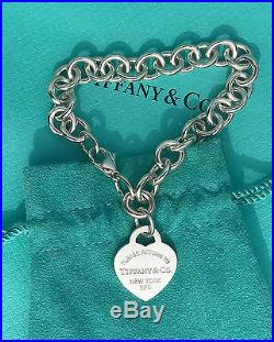 Tiffany & Co Sterling Silver Return To Tiffany Heart Tag Charm Bracelet 7.5 Inch
