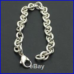523440b503b0e Tiffany & Co Sterling Silver Rolo Chain Link Charm Bracelet with ...