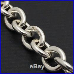 Tiffany & Co Sterling Silver Rolo Chain Link Charm Bracelet with Lobster Clasp