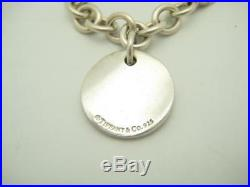 Tiffany & Co. Sterling Silver Round Disc Tiffany Notes Charm Bracelet 7 A