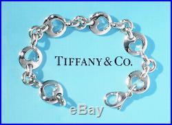 Tiffany & Co Sterling Silver Stencil Pierced Heart Charm Bracelet