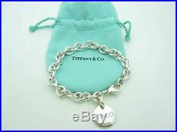 Tiffany & Co. Sterling Silver T & CO. Blue Enamel Round Charm Link Bracelet