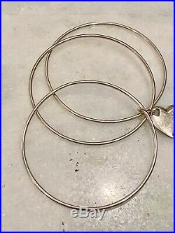 Tiffany & Co. Sterling Silver Triple 3 Bangle Bracelet Heart Charm Rare