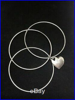 Tiffany Co Sterling Silver Triple Bangle Bracelet Heart Charm