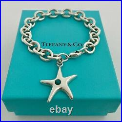 Tiffany & Co. Sterling Silver Turquoise Starfish Charm Bracelet 7 With Pouch