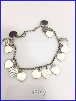 Tiffany & Co Tag 15 Multi Heart Charm Return To Tiffany Sterling Silver Bracelet