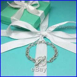Tiffany & Co. Toggle Clasp Charm Bracelet Round Circle 925 Sterling Silver