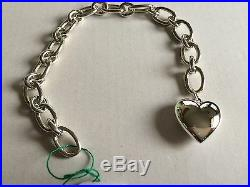 Tiffany & Co sterling silver 7.25 oval clasping end links bracelet heart charm