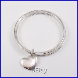 Tiffany & Company Sterling Silver 3 Bangle Heart Love Charm Bracelet LDE9