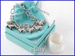 Tiffany RARE Silver Dog Charm Bulldog Poodle Retriever Westie 7.9 Inch Bracelet