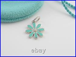 Tiffany Silver RARE Blue Enamel MINT Daisy Charm Pendant 4 Necklace / Bracelet