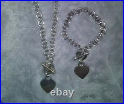 Tiffany and Co Inspired Toggle Heart Charm Necklace and Bracelet Set 925 Silver