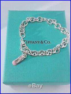 Tiffany and Co Sterling Silver/Enamel Ballet Diamond Charm Bracelet