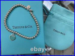 Tiffany's Return To Tiffany & Co Sterling Silver Bead Mini Heart Charm Bracelet