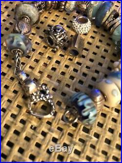 Trollbeads Blue and White Beads With Mixed Sterling Silver Charms Bracelet