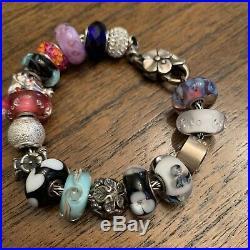 Trollbeads Bracelet Sterling Silver 17 Charms