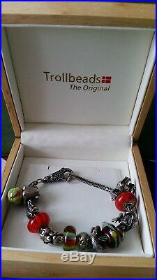 Trollbeads Silver 925 Bracelet with 12 charms and 6 loose spares in ORIGINAL BOX