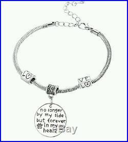 UK Charm Memory Bracelet Dog/Cat/Pet Loss Silver Pendants Paw Print Heart Gift