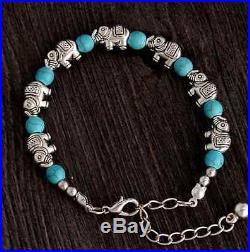 UK Silver Tibetan Elephant Blue Turquoise Crystal Gemstone Bead Charm Bracelet