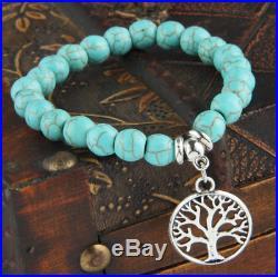 UK Silver Tree Of Life Charm Pendant Turquoise Bead Bracelet. Crystal Gemstone