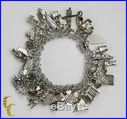 Unique Sterling Silver Charm Bracelet with 35 Charms