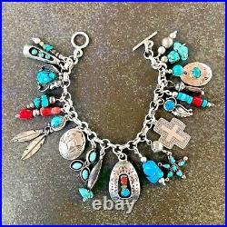 VINTAGE Loaded Artisan-Made Turquoise 19 Charm Bracelet 7 1/4