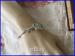 VINTAGE STERLING SILVER ANTIQUE CHAIN BRACELET with HEART PADLOCK and KEY CHARM
