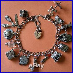 VINTAGE STERLING SILVER BEAUTY GLITZY CHARM BRACELET with 14 CHARMS