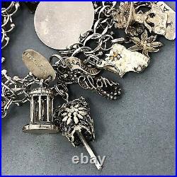 VINTAGE Sterling Silver AMERICANA TRAVEL VACATION SOUVENIR Charm Bracelet LOADED
