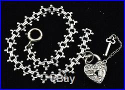 VTG Walter Lampl Padlock Heart Key Floral Puffy Charm & Bracelet Sterling Silver