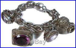 Victorian Etruscan Revival 916 Sterling Silver Charm Bracelet with 4 Fob Charms