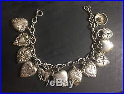 Vintage 1940 PUFFY HEART 12 Charms Bracelet STERLING SILVER Lampl-Horse-Sombrero