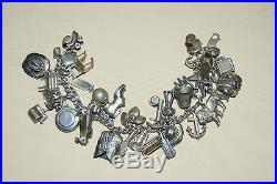 Vintage 1940's Collector's AMERICANA Sterling Silver charm bracelet with33 charms